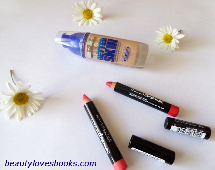 Maybelline SuperStay Better Skin foundation and Maybelline color drama intense velvet lip pencils