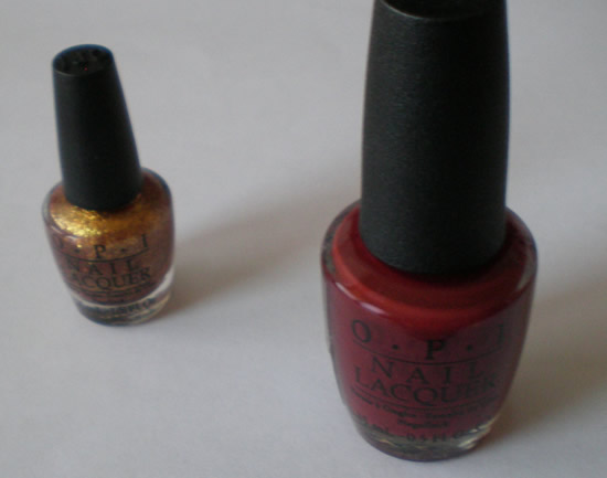 OPI Skyfall and Golden eye nail polishes