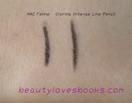 Calrins Intense liner vs. MAC Feline swatch