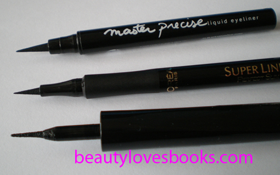 maybelline master precise liquid eyeliner vs l'oreal carbon gloss eyeliner and l'oreal perfect slim