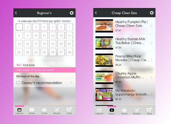 blogilates app screenshots