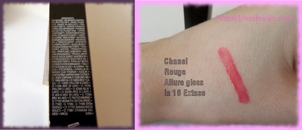 Chanel Rouge Allure gloss in 16 extase ingredients and swatches