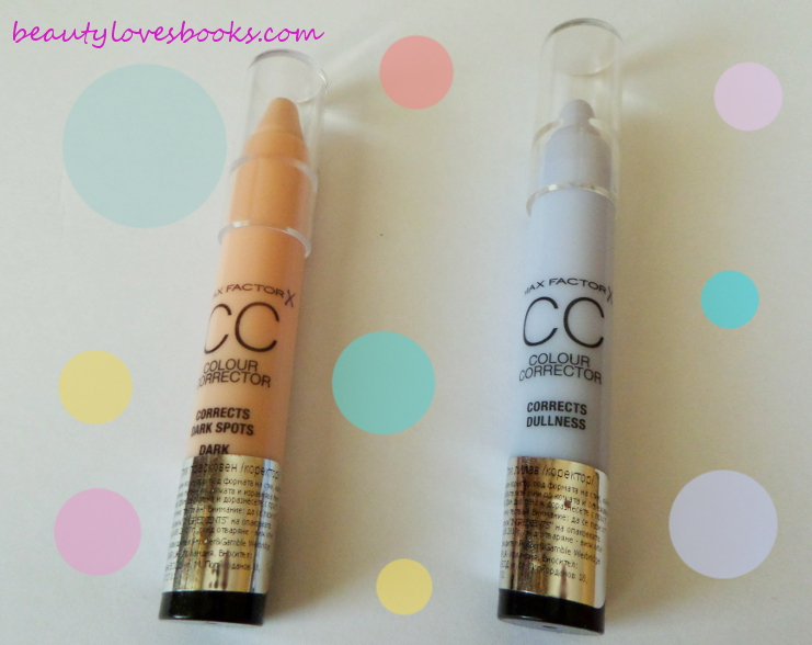 Max Factor Colour corrector CC sticks purple and orange