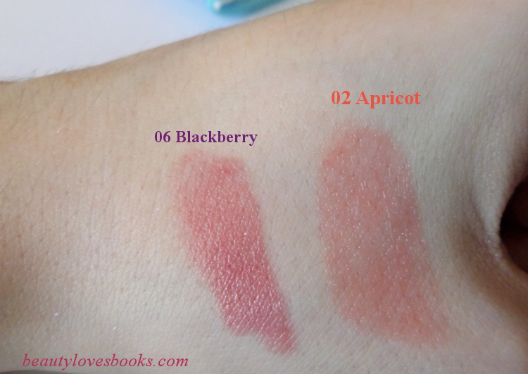 KIKO Kiss balm swatches 06 Blackberry and 02 Apricot