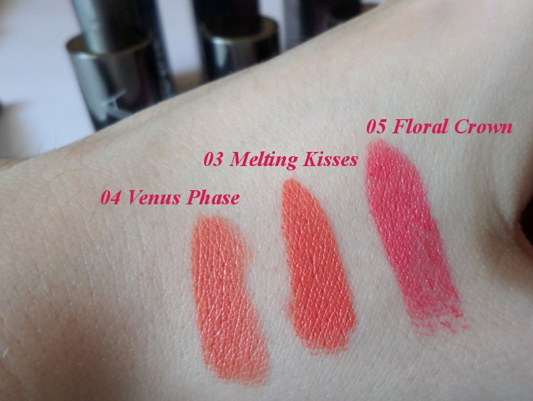 Zoeva luxe cream lipsticks in 03 Melting Kisses, 04 Venus Phase and 05 floral Crown swatches