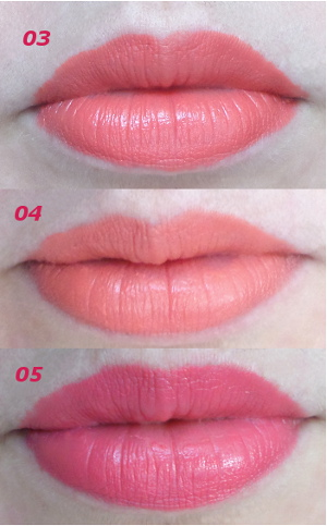 Zoeva Luxe cream lipsticks 03 Melting Kisses 04 Venus Phase and 05 Floral Crown lip swatches