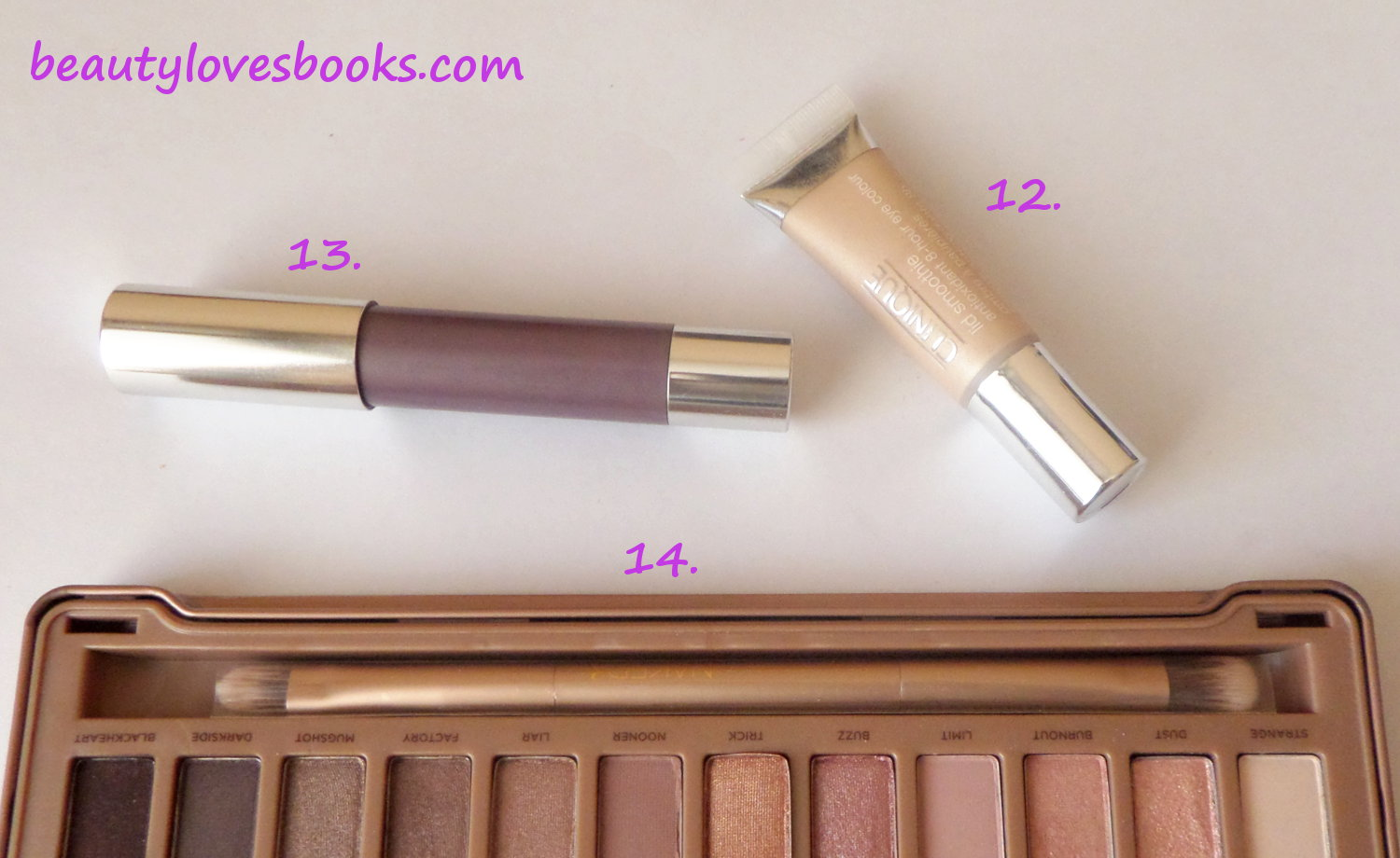 Urban Decay Naked 3 palette, Clinique Lid smoothie, Clinique Chubby stick for eyes