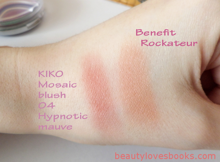 KIKO Mosaic blush in 04 Hypnotic mauve, swatches, comparison with Benefit Rockateur