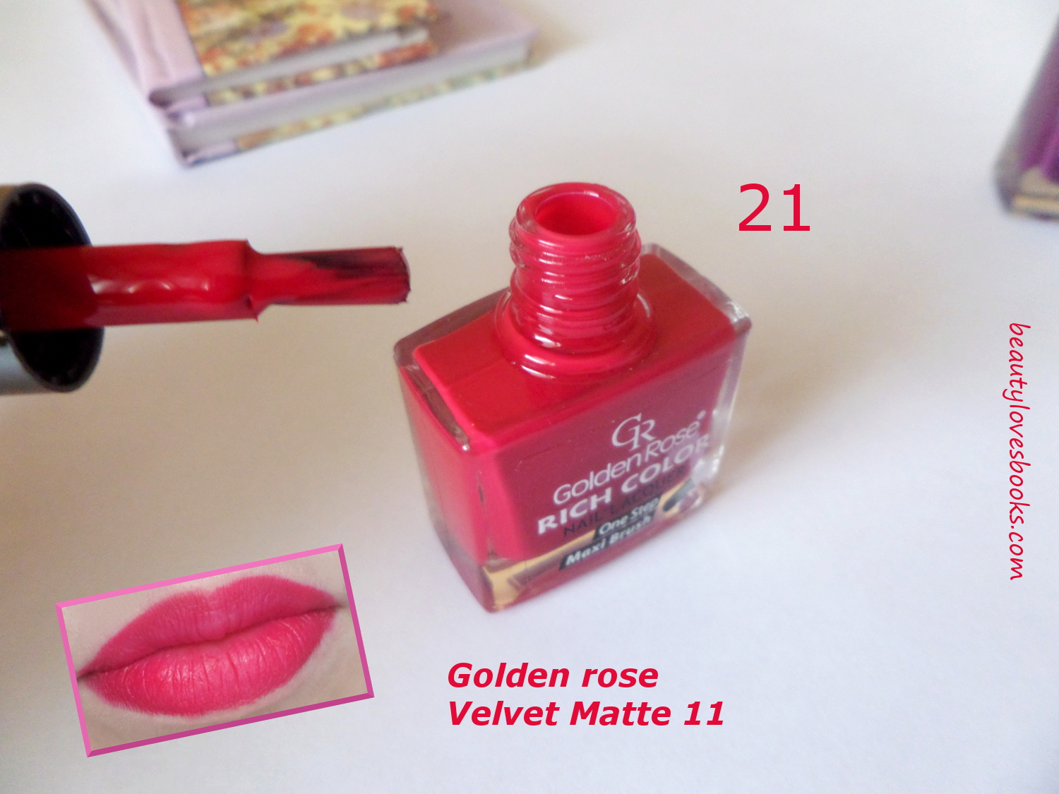 Golden rose Velvet matte lipstick 11 swatch and Golden rose Rich color nail polish in 21