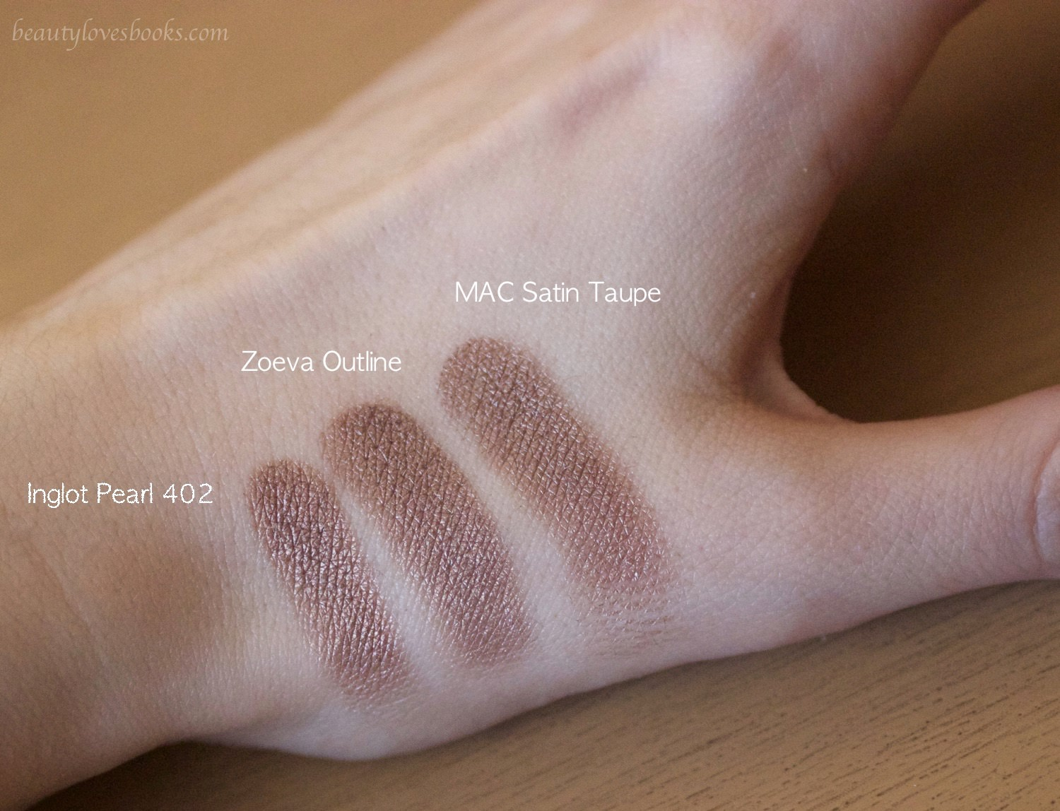 Zoeva En taupe palette, Inglot Pearl 402, MAC Satin taupe dupes