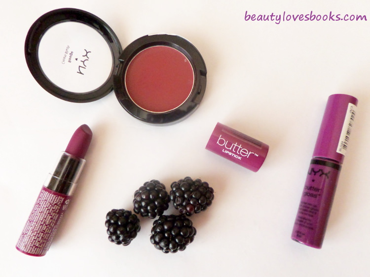 NYX Butter lipstick in Hunk, NYX Butter gloss in Raspberry tart, NYX cream blush in Diva