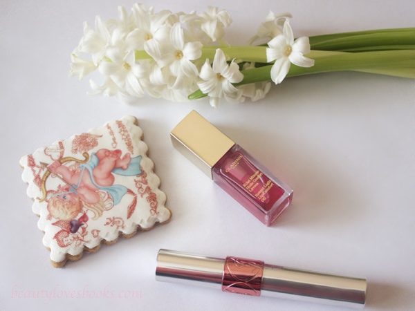Clarins Instant light lip comfort oil in 02 Raspberry and YSL Volupte tint-in-oil in 06 Peach me love