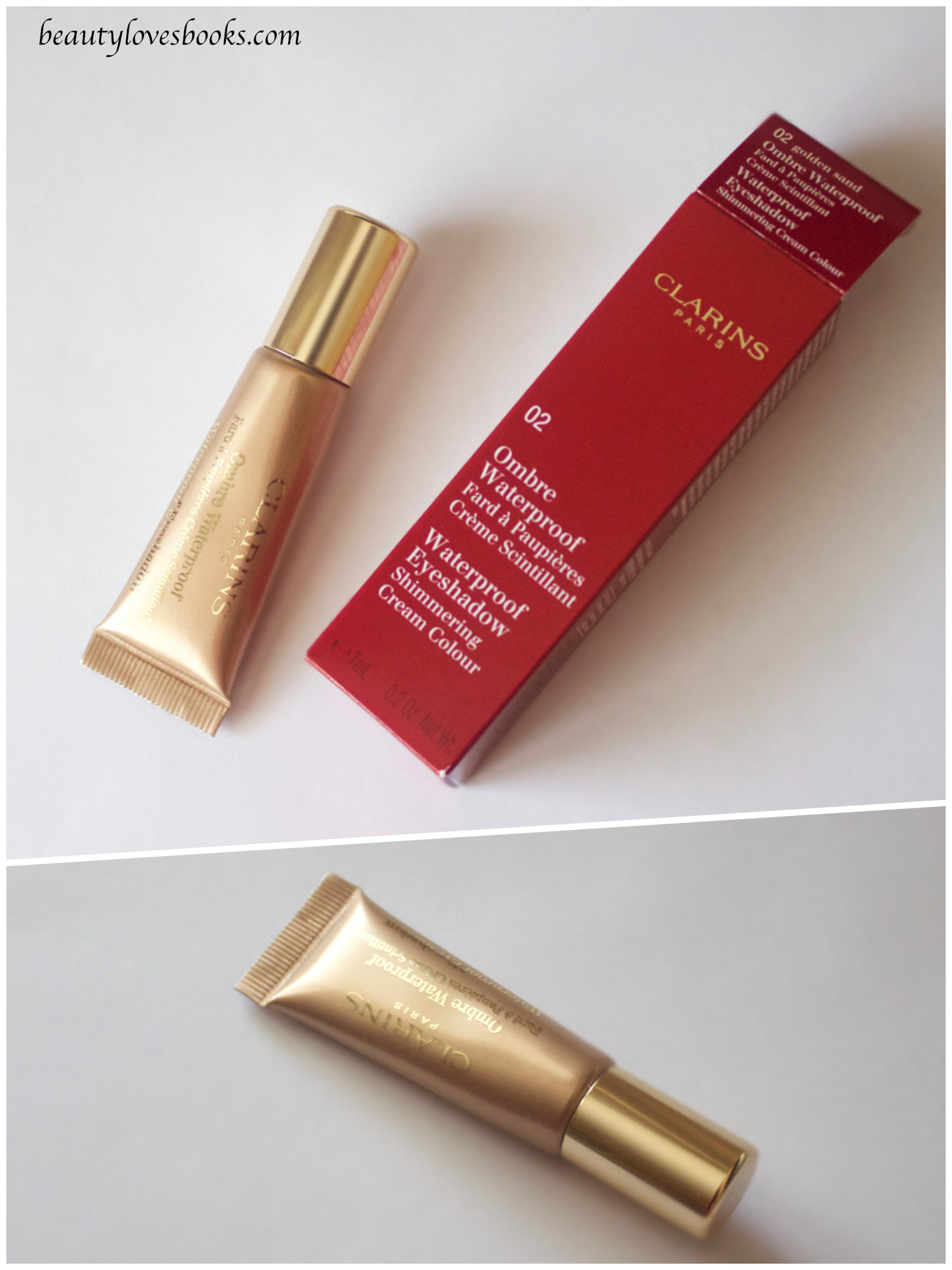 Clarins Ombré Waterproof Shimmering cream colour in 02 golden sand