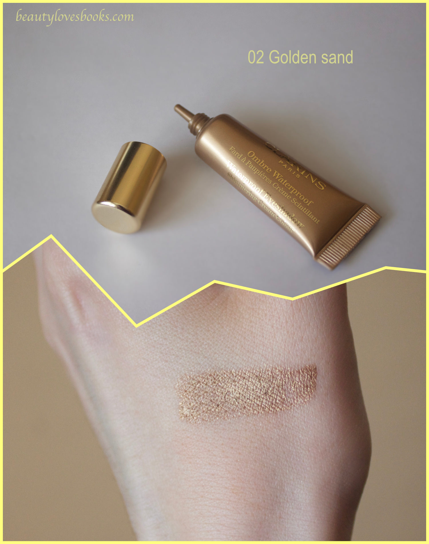 Clarins Ombré Waterproof Shimmering cream colour в 02 golden sand swatch
