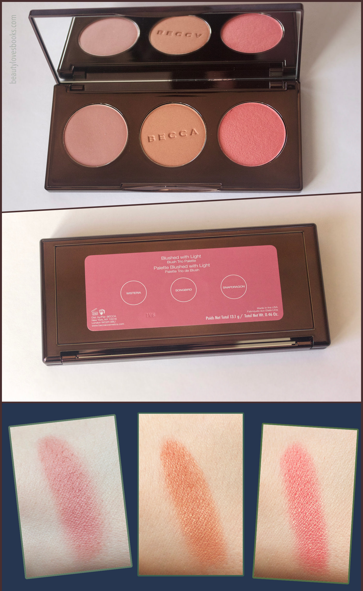 Becca Blushed with Light Palette (Blush Trio Palette) swatches