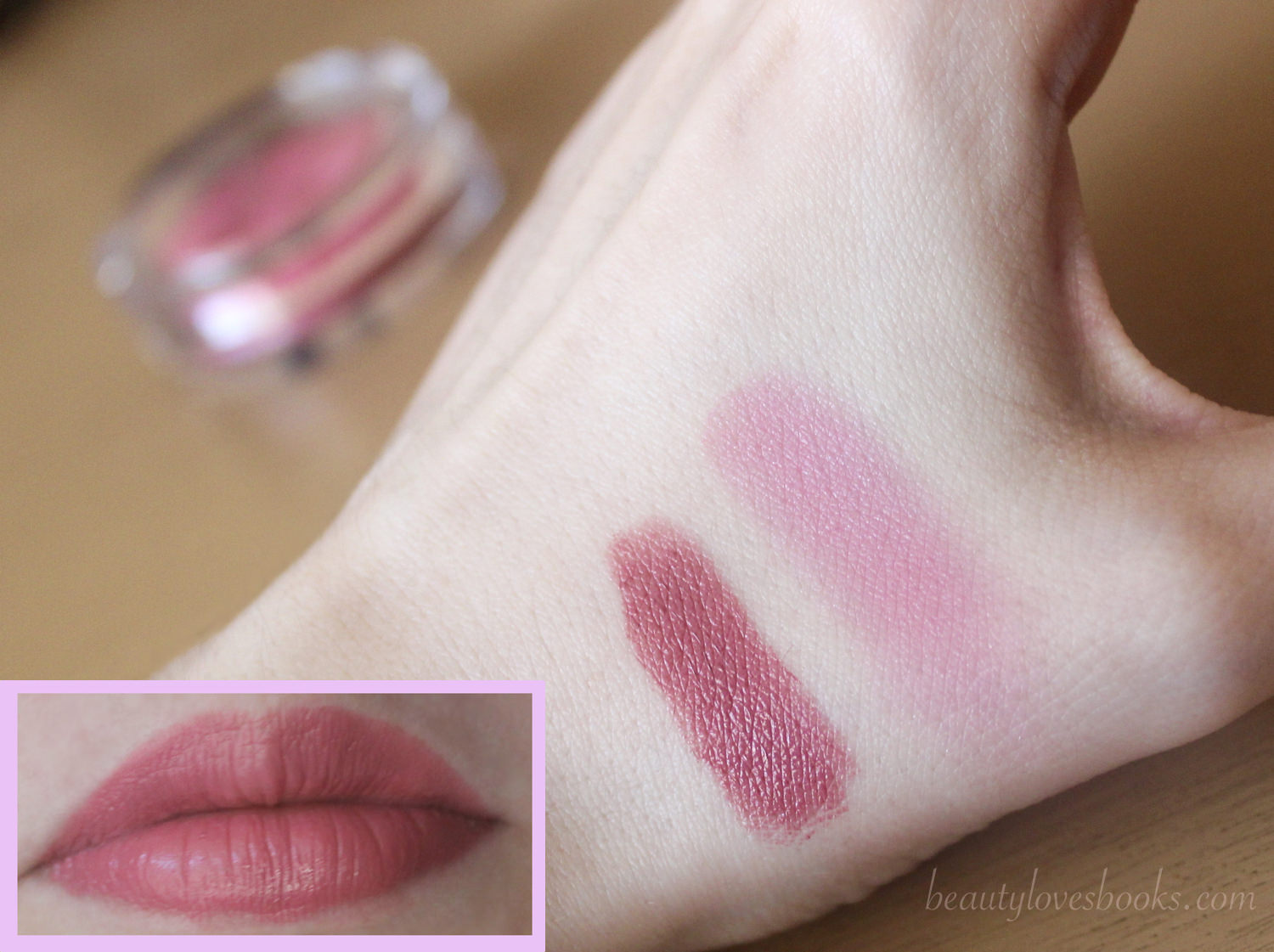 Clinique Cheek Pop blush and Clinique Pop lip colour + primer lipstick in the shade Plum Pop - swatches