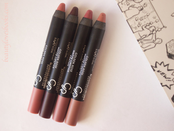 Golden rose matte lipstick crayons in the shades 03, 10, 13 and 18