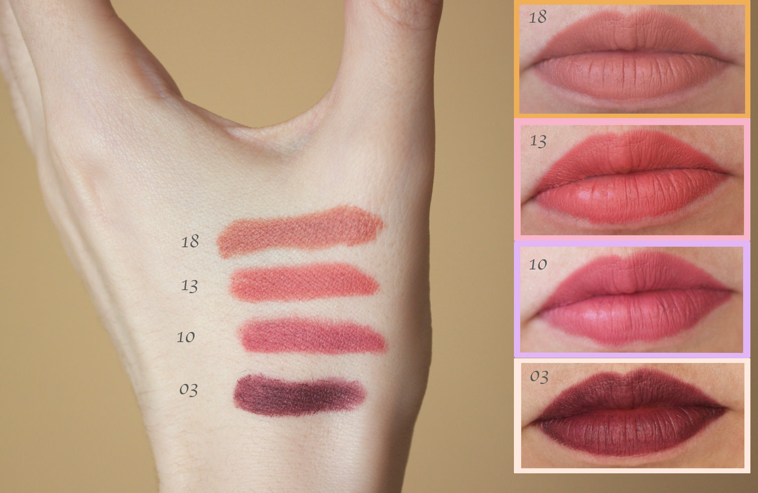 Golden rose matte lipstick crayons in the shades 03, 10, 13 and 18 swatches
