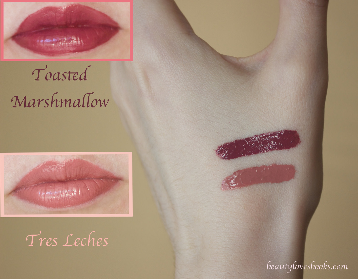 NYX Intense Butter glosses in Tres Leches and Toasted Marshmallow swatches