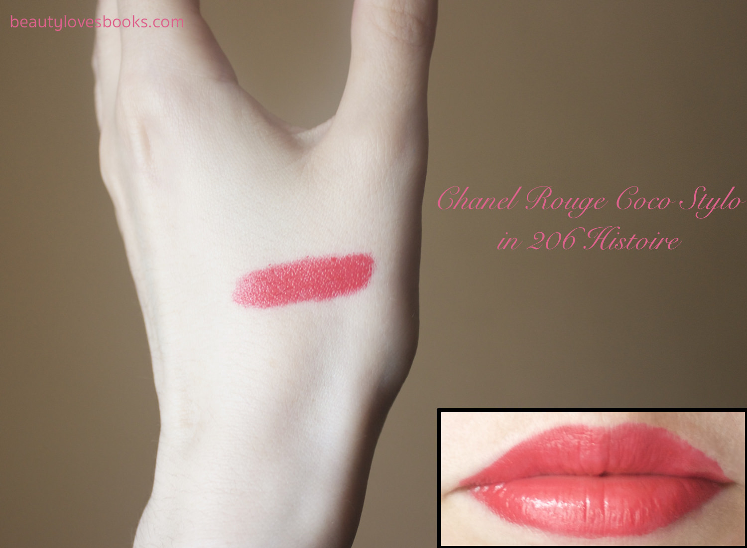 Chanel Rouge Coco Stylo complete care lip shine in the shade 206 Histoire swatch