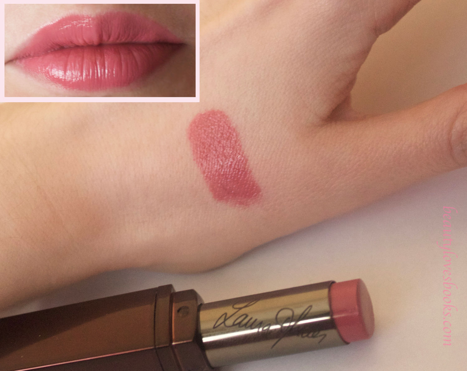 Laura Mercier lip parfait creamy colourbalm in the shade Raspberry ripple swatch