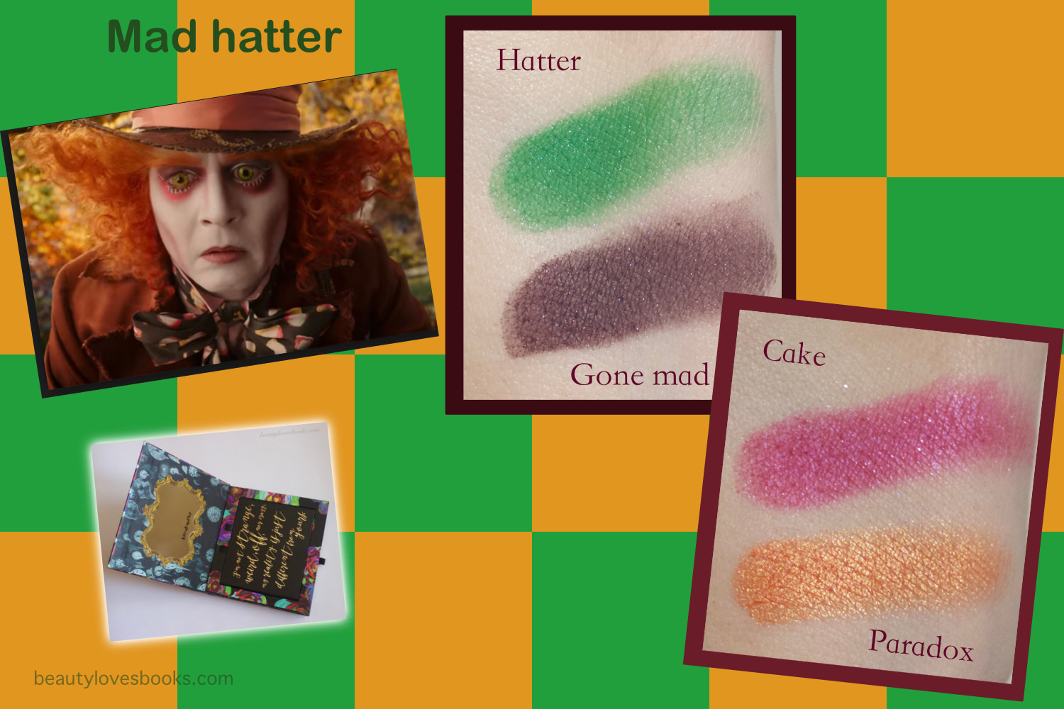 Urban Decay X Alice through the looking glass eyeshadow palette swatches, Mad hatter look