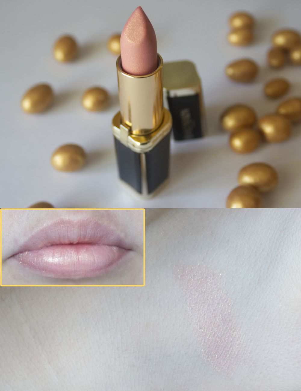 L'Oréal X Balmain Color Riche lipstick in the shade Confidence swatches