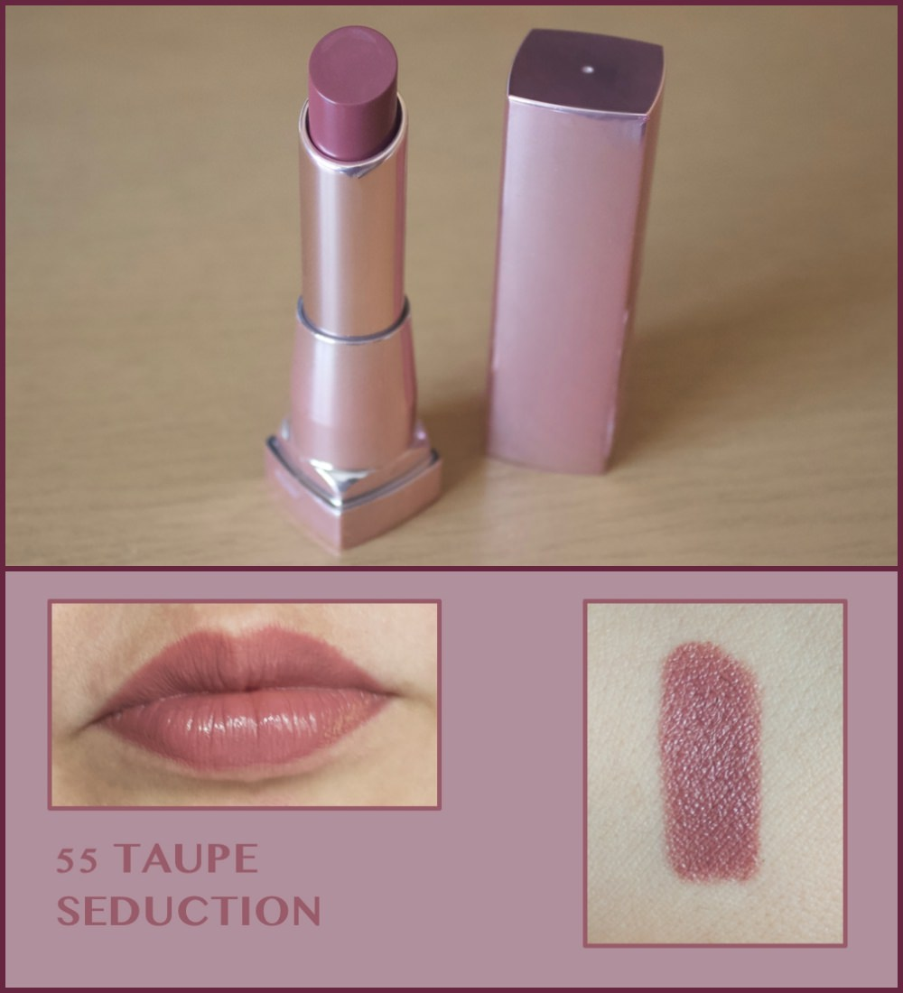 Maybelline Color Sensational Shine Compulsion in 55 Taupe seduction and 130 Spicy sangria