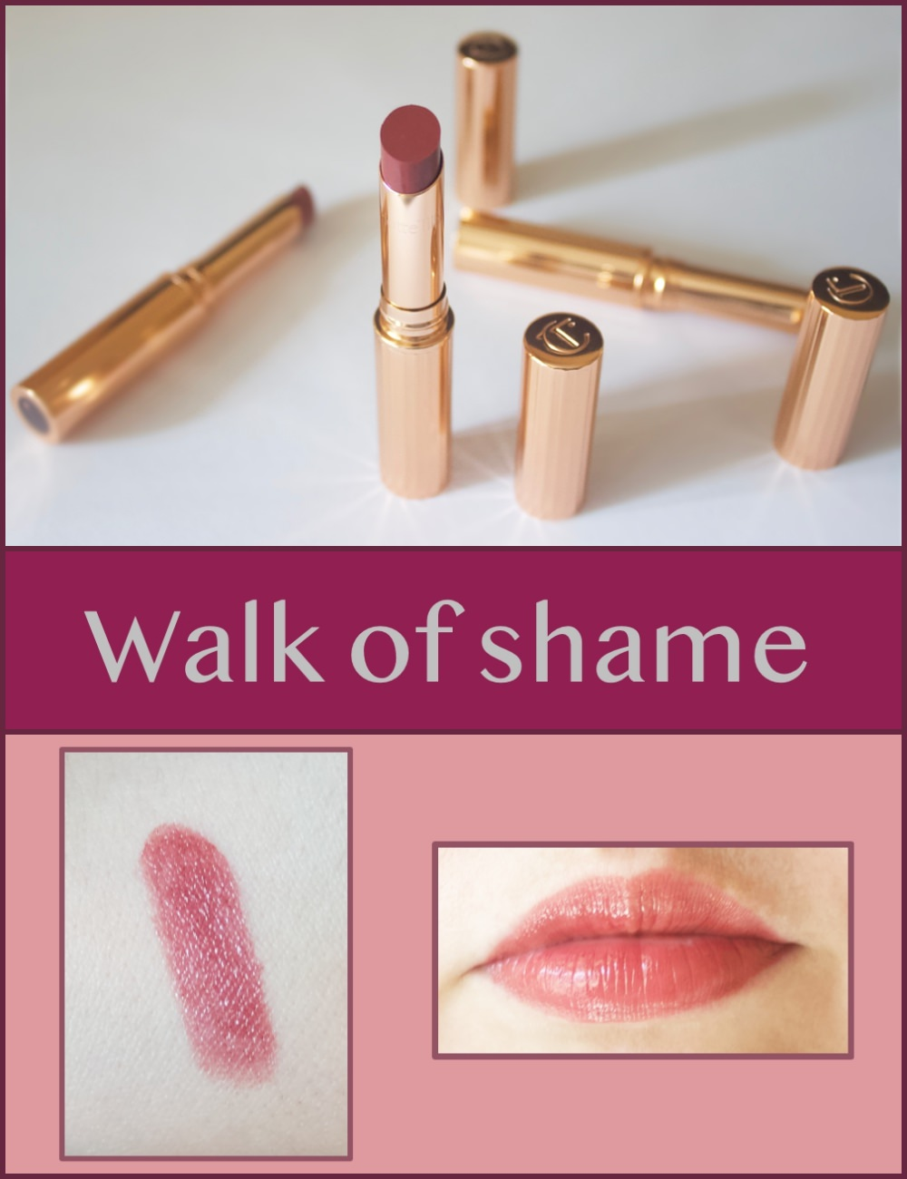 Charlotte Tilbury Superstar lips in Walk of shame swatches