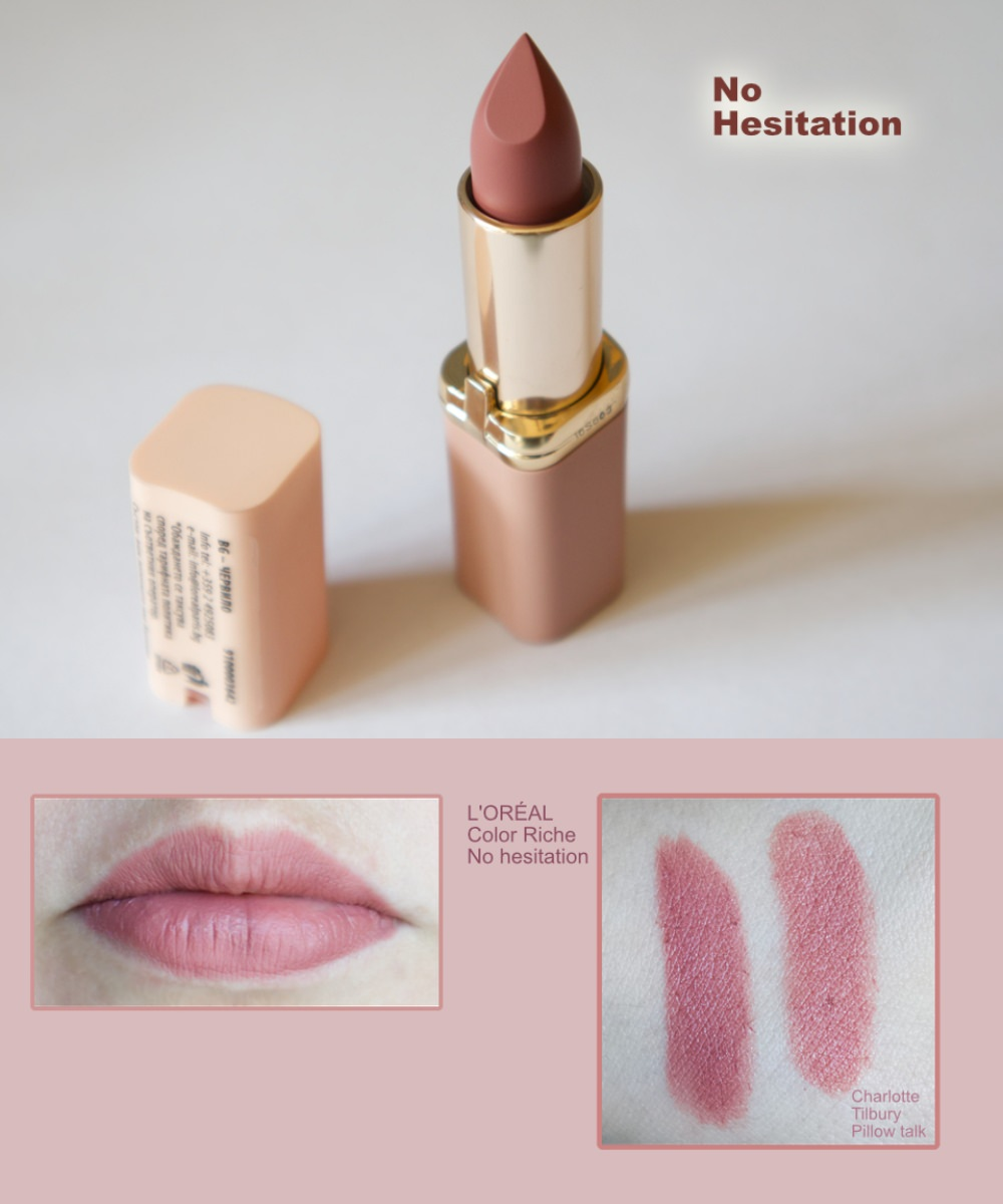 L'ORÉAL Color Riche Ultra-matte lipstick in No hesitation swatches